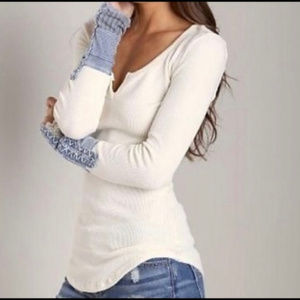Free People Tops - We the Free Blue Cuffed Kyoto Top M